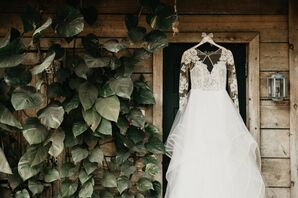 Tiered Organza Hayley Paige Ball Gown with Illusion-Lace Long Sleeves