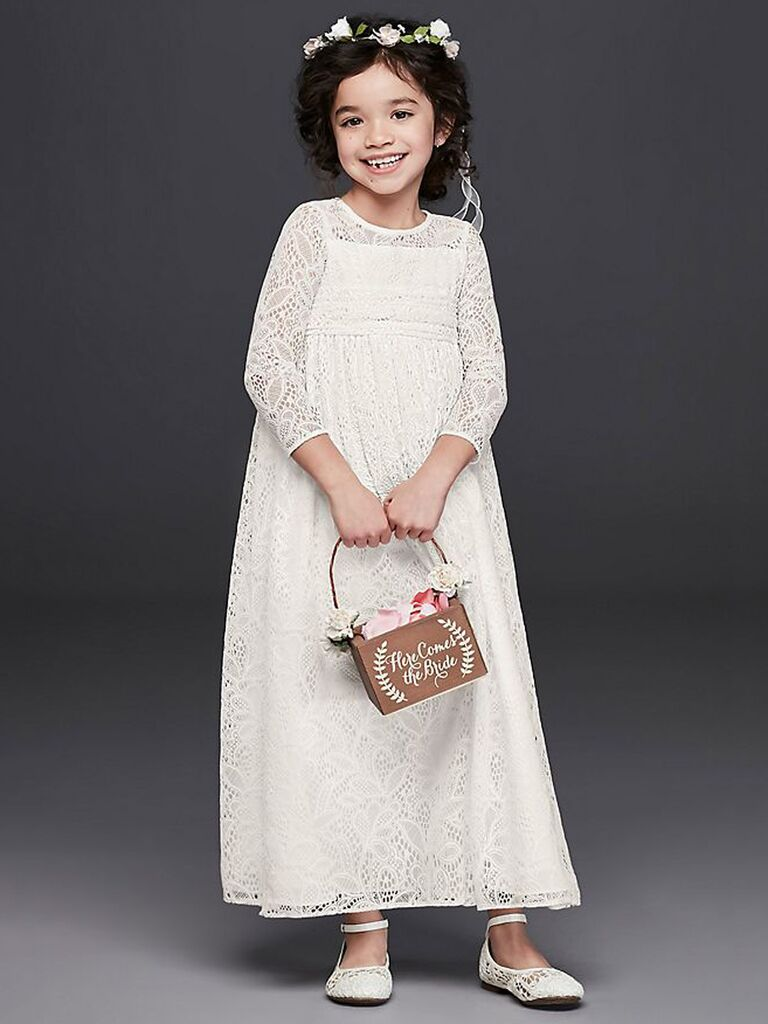 f213f10500b Your little bohemian flower girl needs this long-sleeve lace dress. David s  Bridal ...