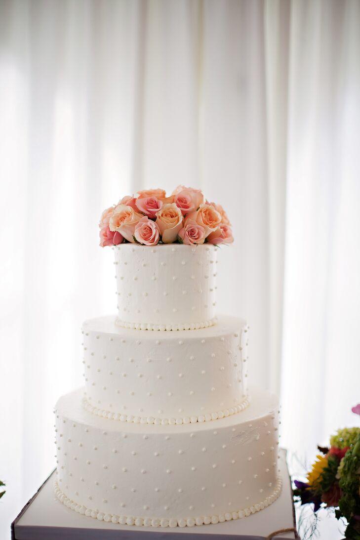White Wedding Cake With Swiss Dots