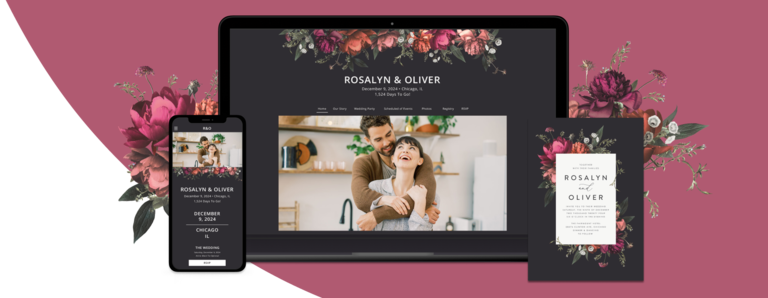 Blooming Botanical with black background wedding website design on a laptop and mobile device with a matching wedding invitation card