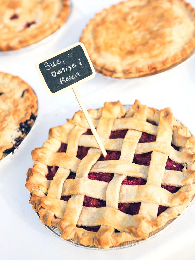 Assorted pie flavors for a wedding dessert idea