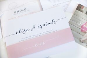 Pink and White Calligraphy Invitation Suite