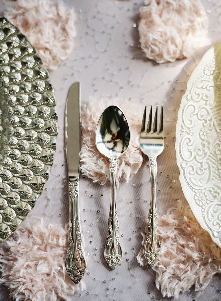 Silver Flatware with Ornate Handles