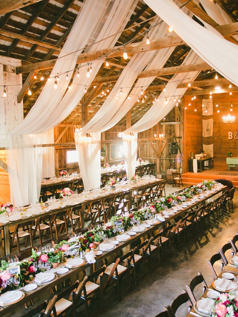 Rustic Barn Reception E With D White Fabric Decor