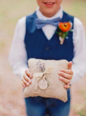 Burlap Ring Bearer Pillow with Lavender