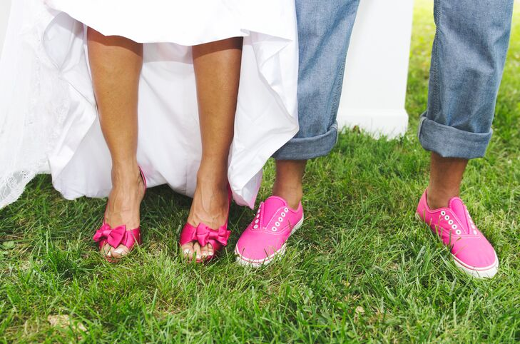 Bright Pink Bridal Shoes and Groom s Sneakers 74beff64b