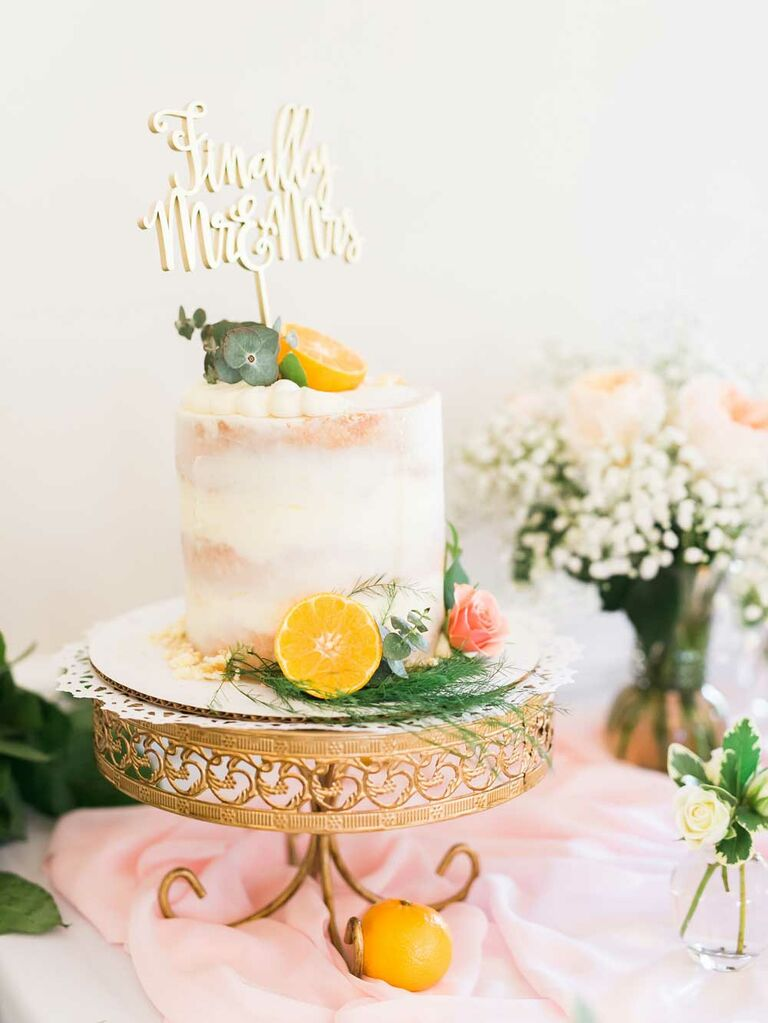 Small citrus semi-naked wedding cake