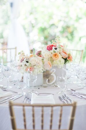 Lucite and White Table Number
