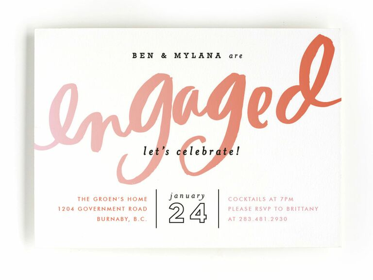 Pink watercolor engagement party invitation