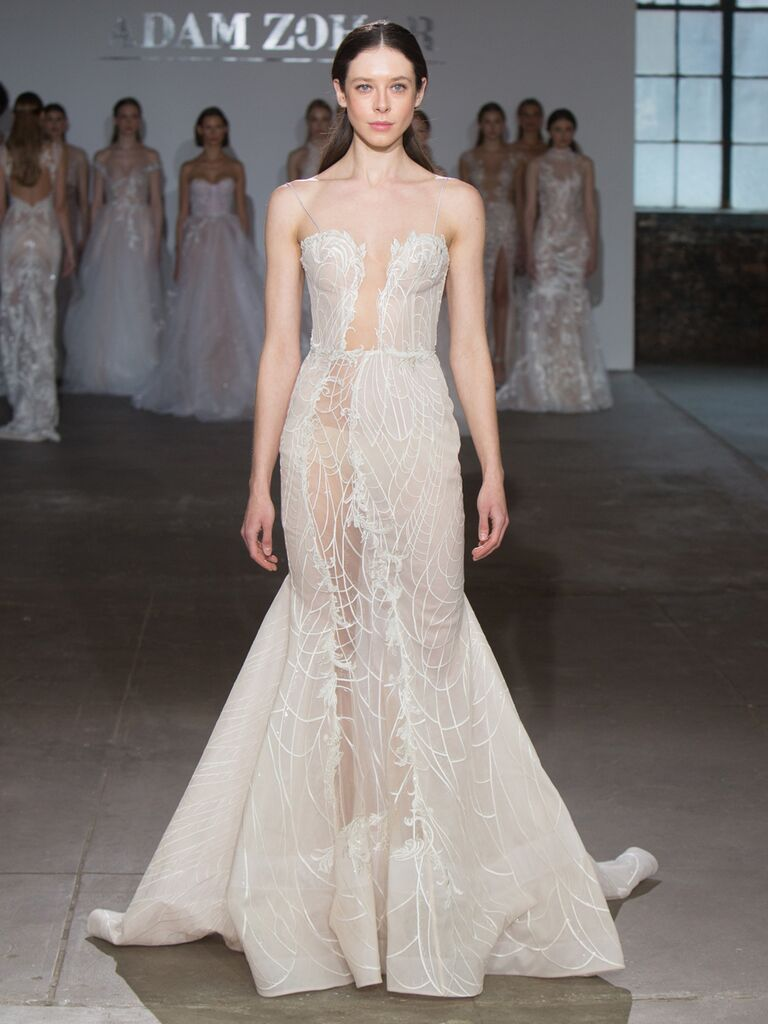 Adam Zohar Spring 2019 Collection sheer mermaid wedding dress with illusion paneling down the side
