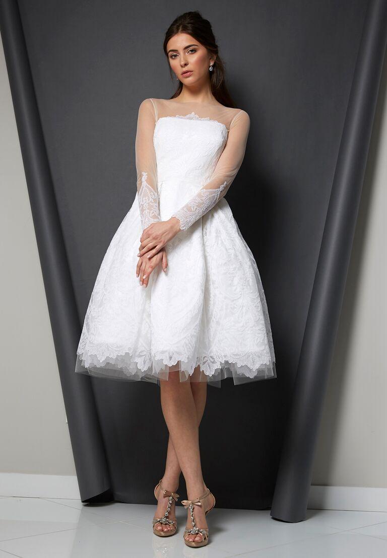 Randi Rahm Spring 2020 Bridal Collection knee-length wedding dress with sheer long sleeves