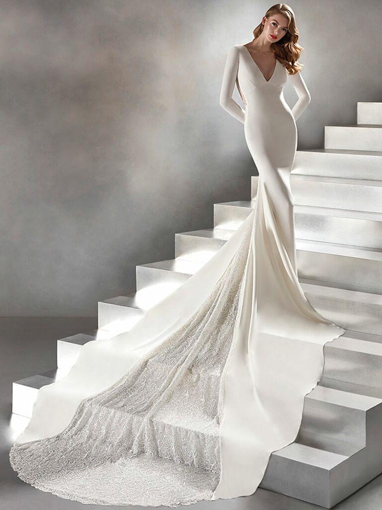 Atelier Provonias wedding dress long sleeve mermaid gown