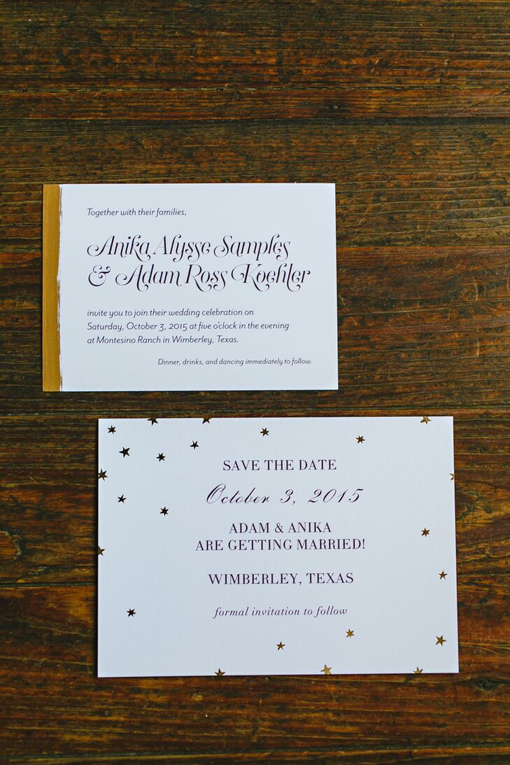As a graphic designer, Anika created a romantic and rustic theme with her starry-night-themed stationery.