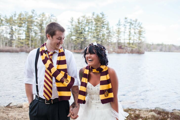 From Gryffindor scarves to a sorting hat and potion bottle centerpieces, April and Jordan's whimsical Harry Potter-inspired wedding in Epping, New Ham