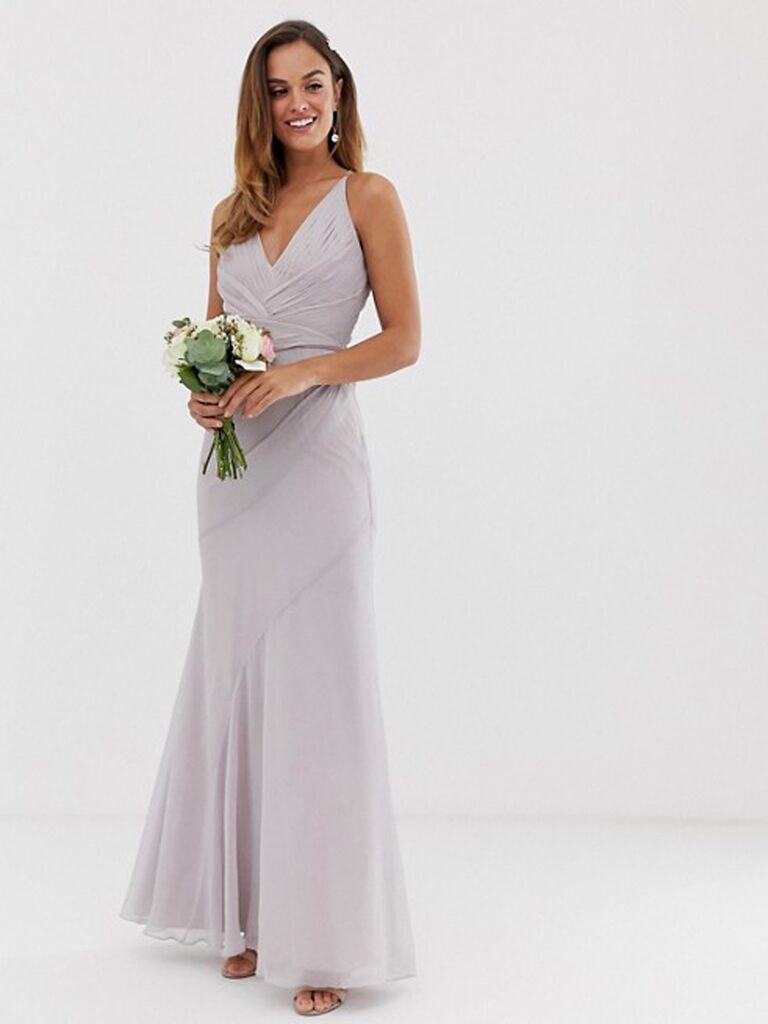 Light purple gray bridesmaid dress