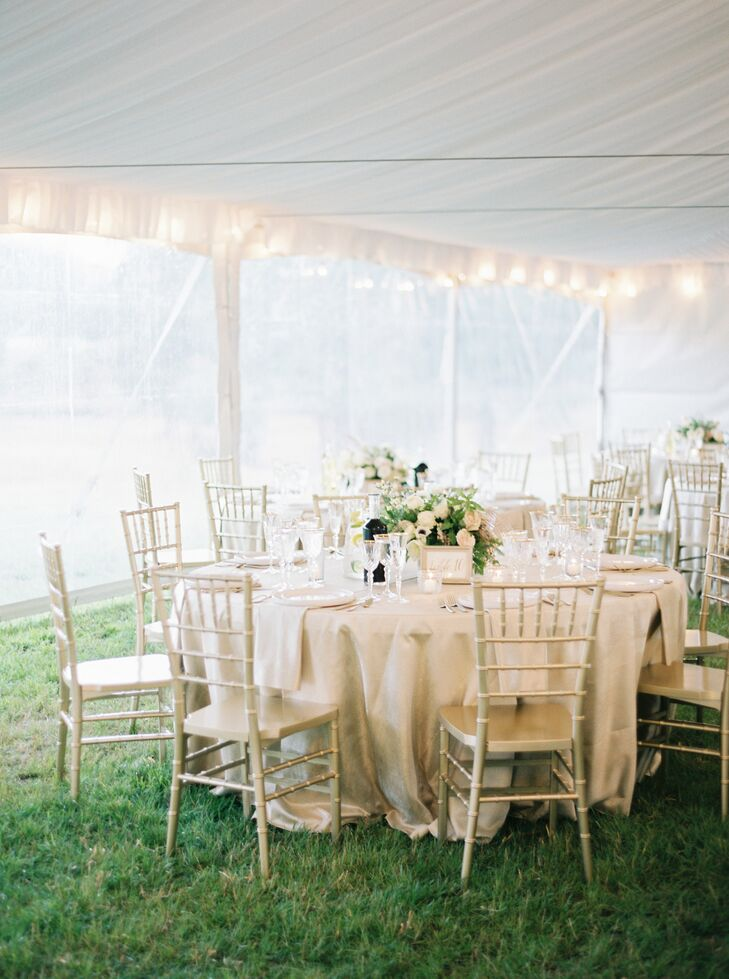 The furniture, linens, flatware, glassware and centerpieces at the reception worked together in harmony to paint a romantic picture.