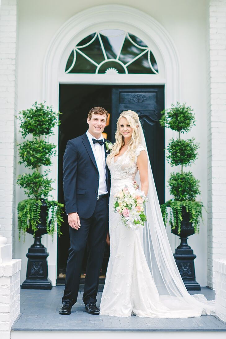 """We had our wedding at a true southern mansion that has a European flair,"" says Jessica. ""With immaculately manicured gardens, fountains, pool, horses and miles of white fencing, it was perfect!"""