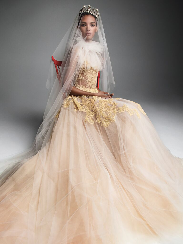 Vera Wang Fall 2019 Bridal Collection peach tulle A-line wedding dress with tulle collar and gold lace