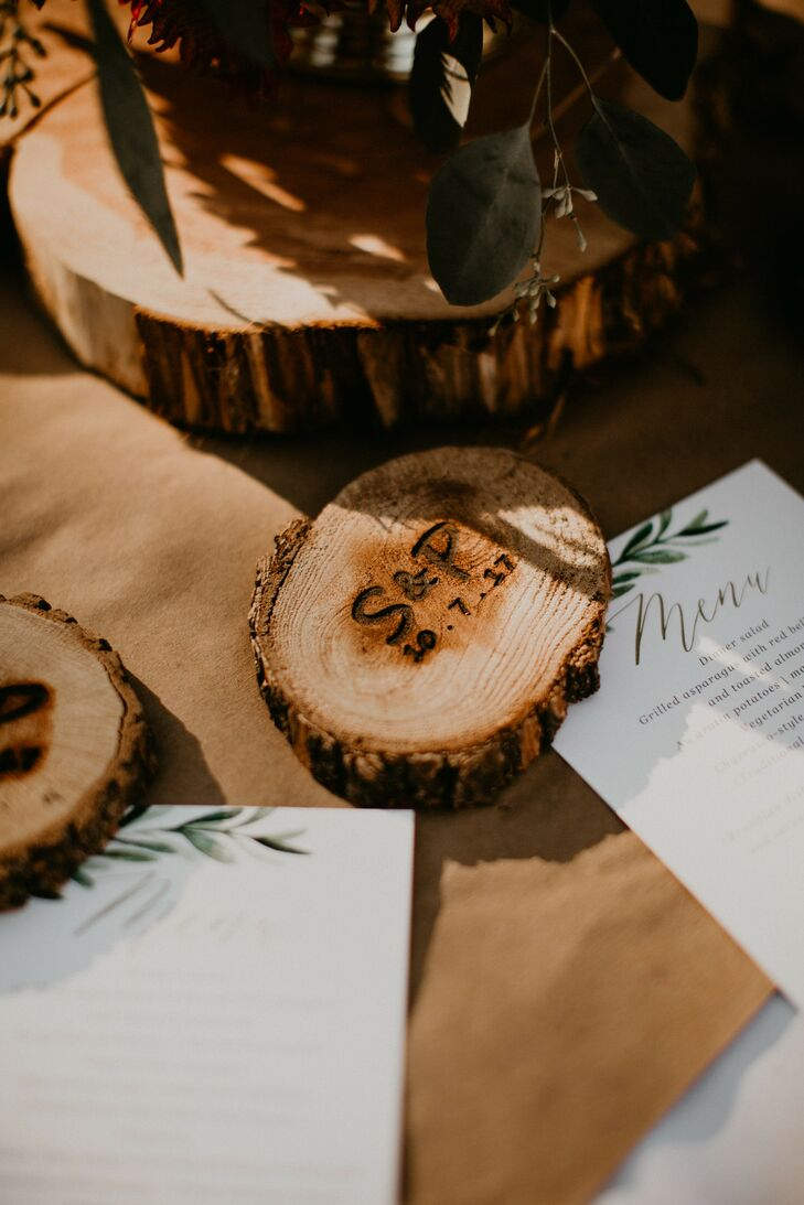 Rustic, Personalized Wood Slice Coasters and Simple Menus with Greenery