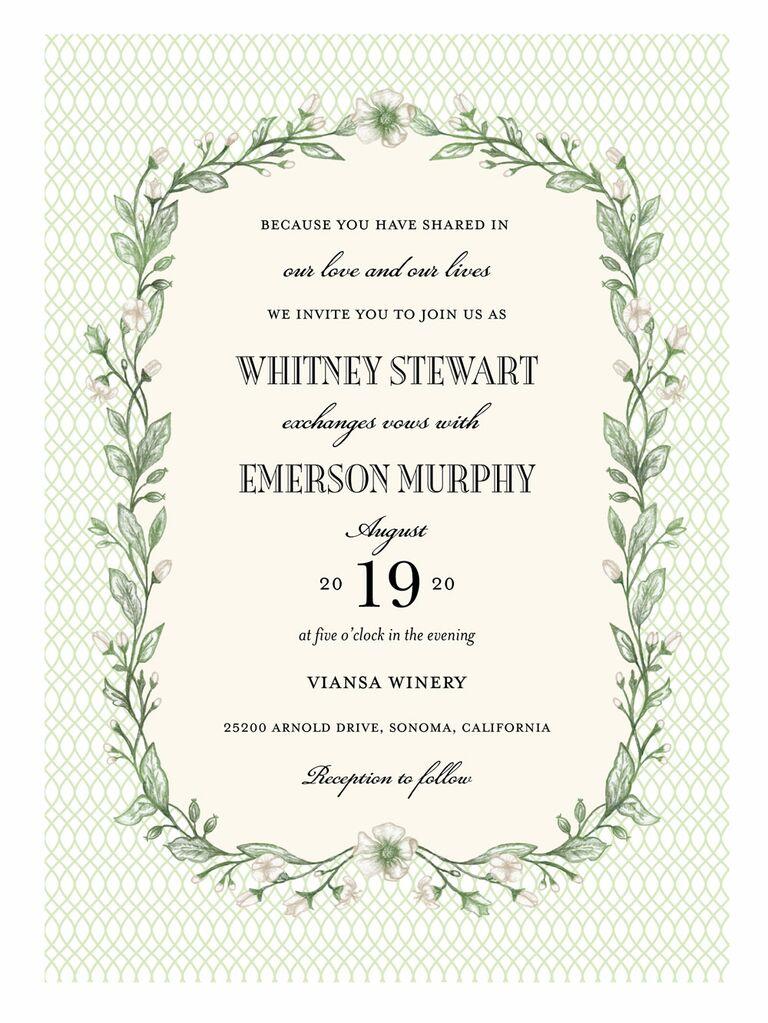 Shutterfly floral lattice spring wedding invitation