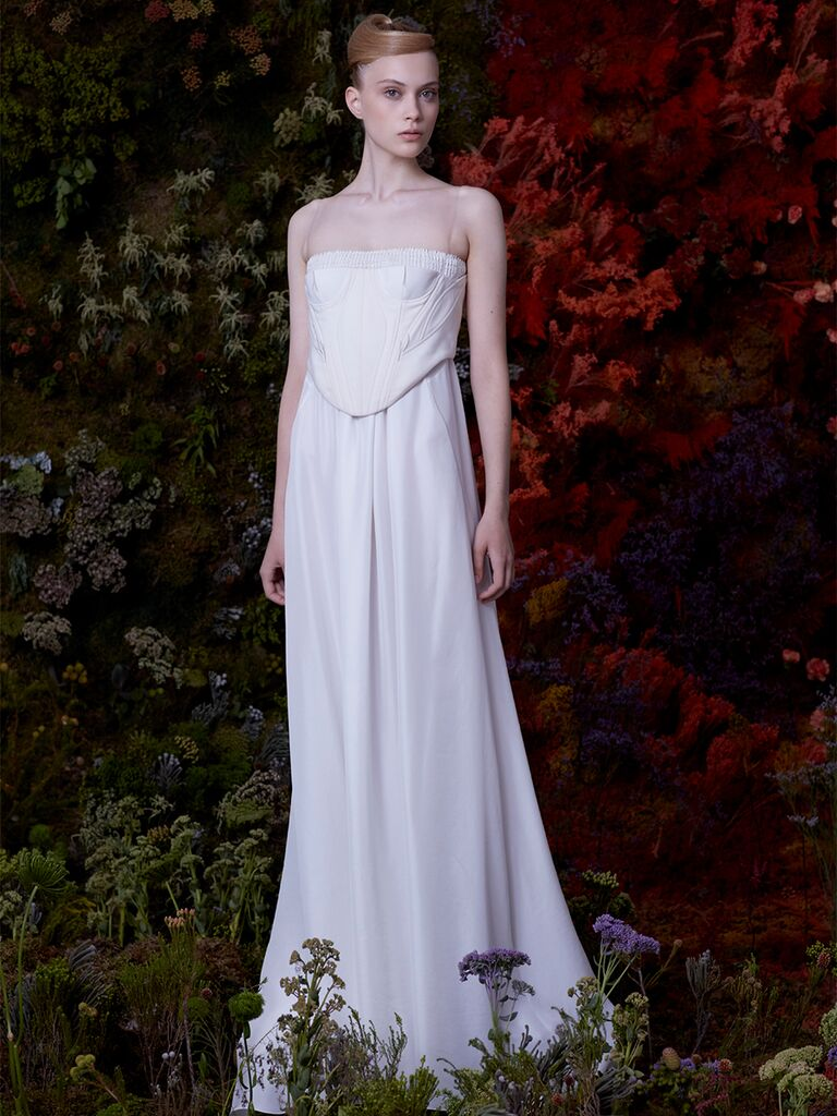 EDEM strapless A-line dress with beading