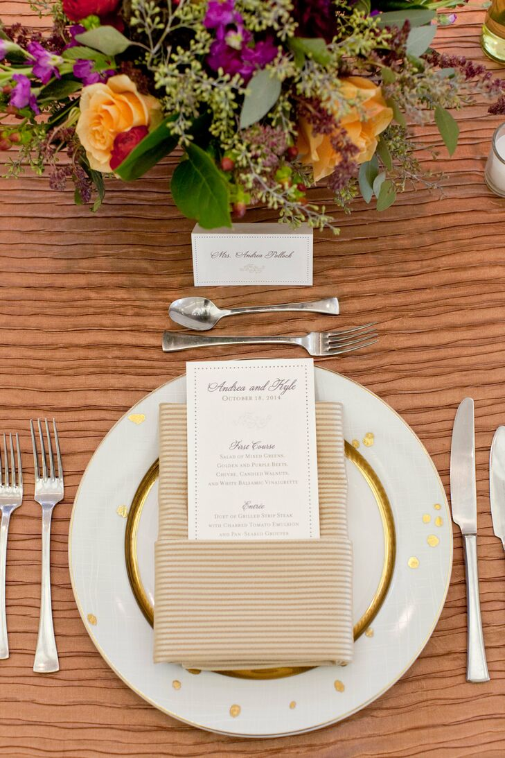 Gold Dinnerware and Classic Menus