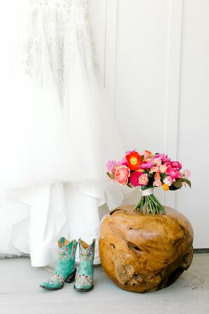 Colorful Bouquet and Blue Cowboy Boots