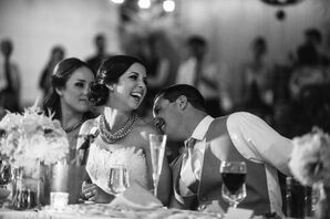 Bride and Groom at Dinner in Black and White