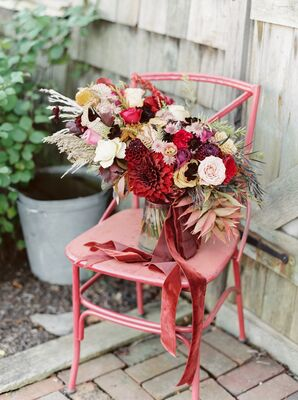 Bohemian Arrangement of Dahlias, Garden Roses, Pampas Grass and Fall Wildflowers