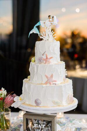 Beach-Themed Wedding Cake With Mermaid Cake Topper