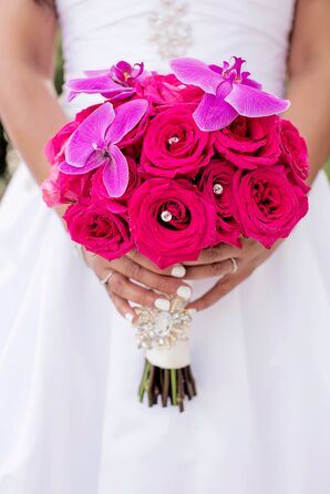 Bright Rose and Orchid Bouquet with Jeweled Wrap