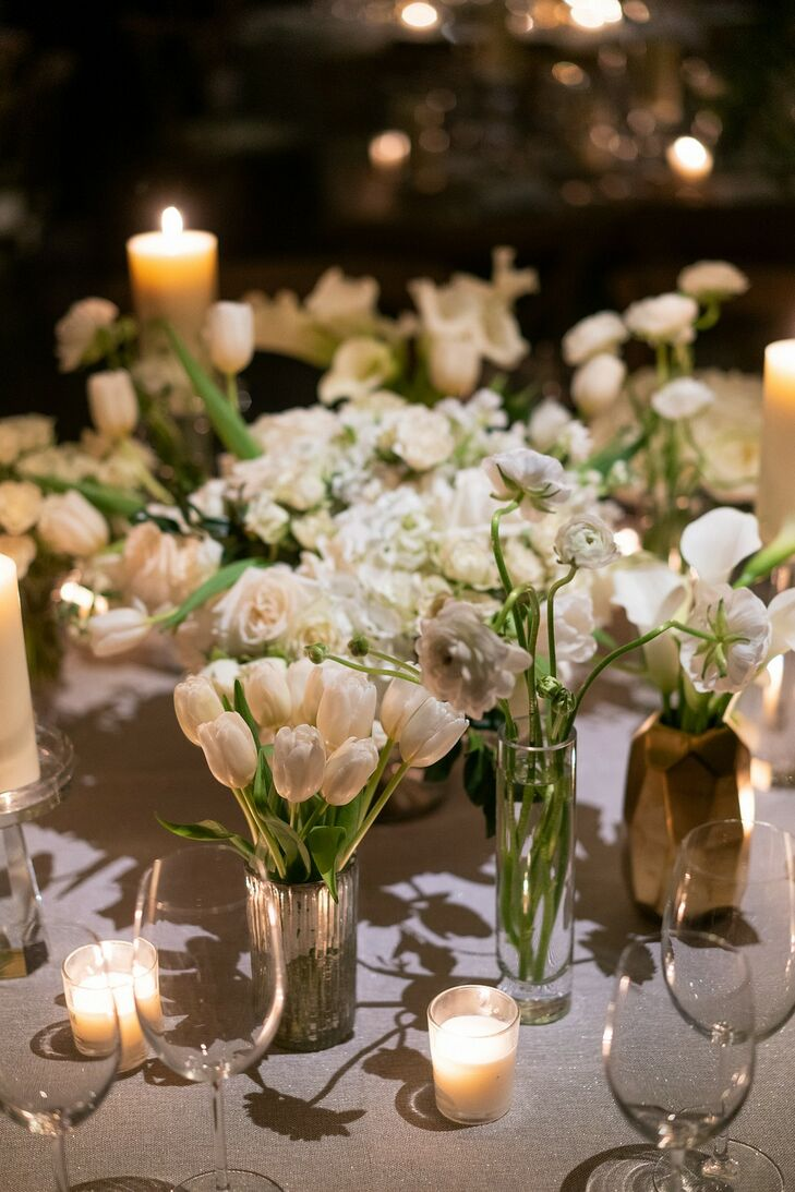 Small Centerpieces of White Tulips, Roses and Hydrangeas