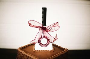 Chocolate Groom's Cake with Collegiate Spatula
