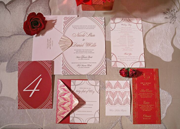 """When meeting with the invitation designer, Nicole and Dan expressed their love of architecture and art deco, and Ceci New York ran with it. The invitation became one of the foundational design elements used by the planner in creating their overall wedding vision. According to Dan, """"The graphic that was created had the St. Louis Arch in such a subtle way that it looked very much like just an art deco design. This graphic was then carried throughout—first to the cake, then to the lighting, the menus and the dance floor."""""""
