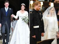 Princess Eugenie and Meghan Markle on their wedding days