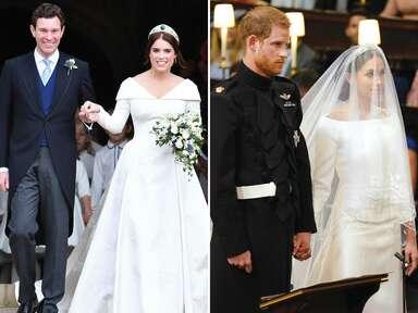Princess Eugenie and Meghan Markle on their wedding days