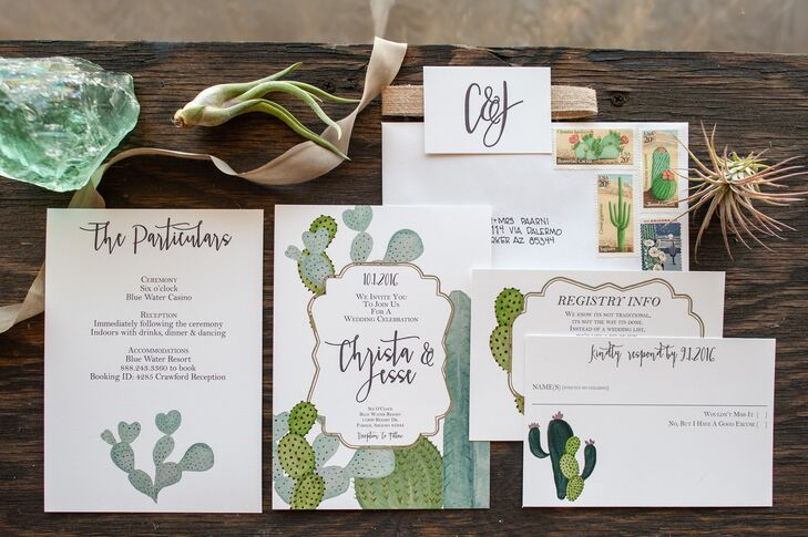 """We met several times with our calligrapher, L Shannon Designs, to customize the font and water coloring on many parts of the wedding,"" Christa says. ""She absolutely killed it on our custom signs, menus, escort marble tiles and geometric wooden pieces. Her work was definitely one of the most special parts of our wedding, and it showed everywhere."""