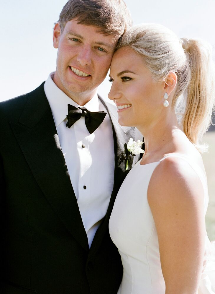 Elegant Bridal Ponytail Pair with Classic Black-Tie Style