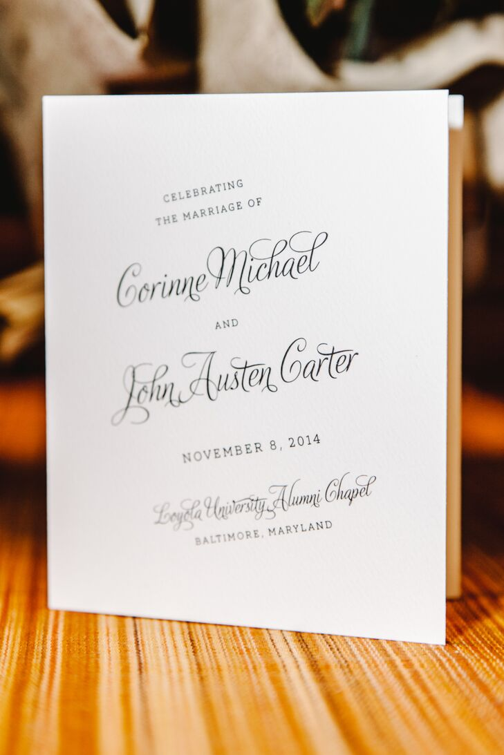 MLC Designs created most of the wedding day stationery, which included classic white ceremony programs in black script.