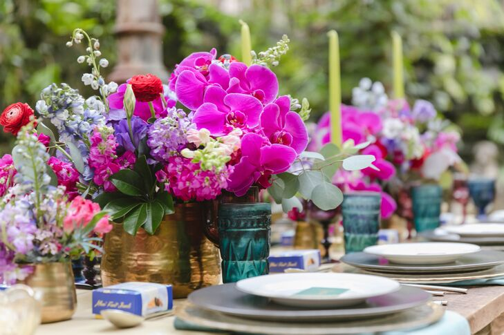 Colorful and Eclectic Centerpieces at Dining Table