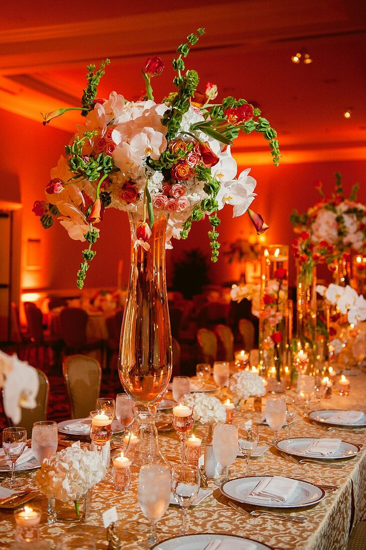 Tall Green and Coral Centerpieces