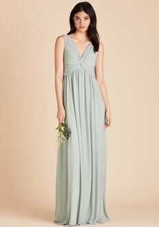 Birdy Grey Lianna Mesh Dress in Sage V-Neck Bridesmaid Dress