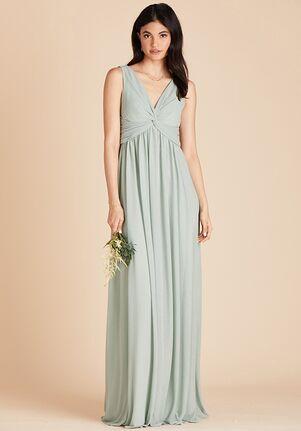 Birdy Grey Lianna Mesh Dress in Sage V-Neck Bridesmaid Dress