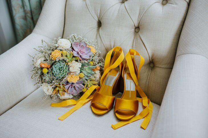 Whimsical Succulent Bouquet and Yellow Heeled Shoes