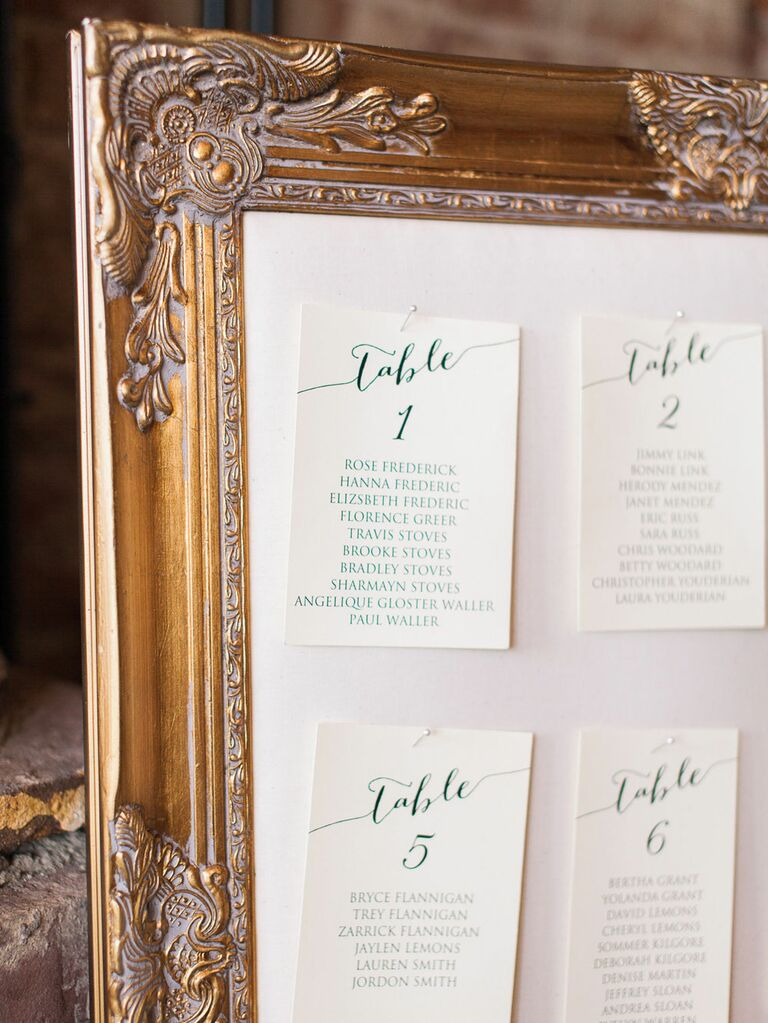 Vintage gold frame as wedding seating chart