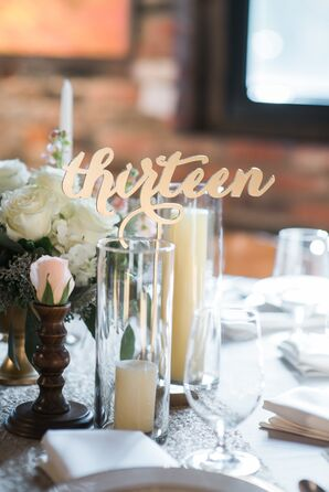 Whimsical Gold Script Table Numbers
