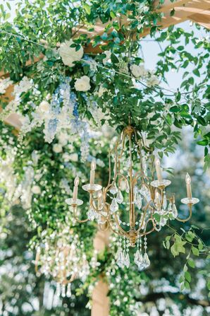 Ivy Garlands and Gold Crystal Chandeliers
