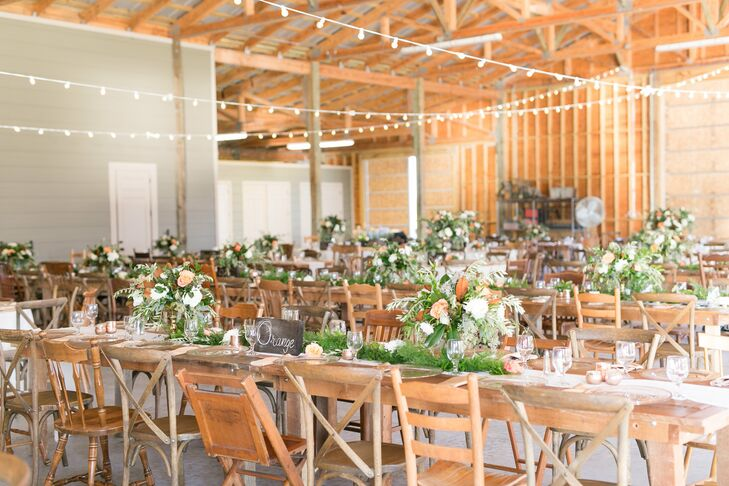 Barn Reception with Rustic Mismatched Chairs