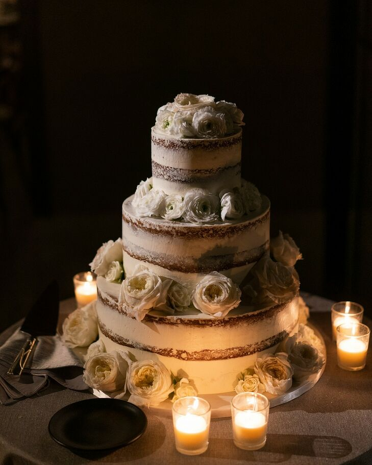 Modern Tiered Semi-Naked Cake with White Peonies