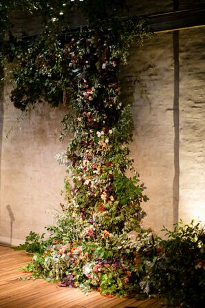 Flower Wall Made of Leaves, Greenery and Wildflowers